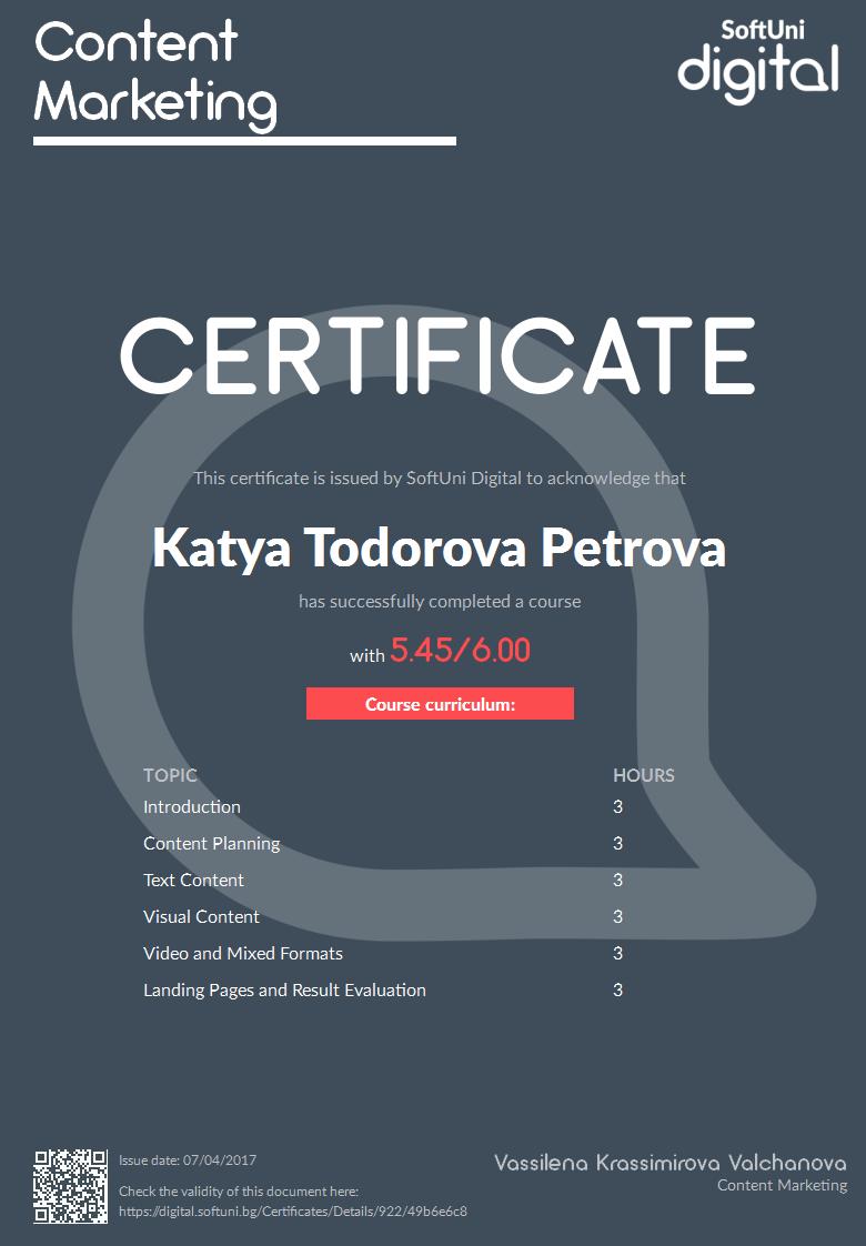 content marketing certificat
